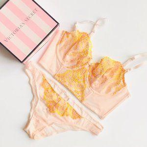 36D/MEDIUM Victoria's Secret beige lingerie set